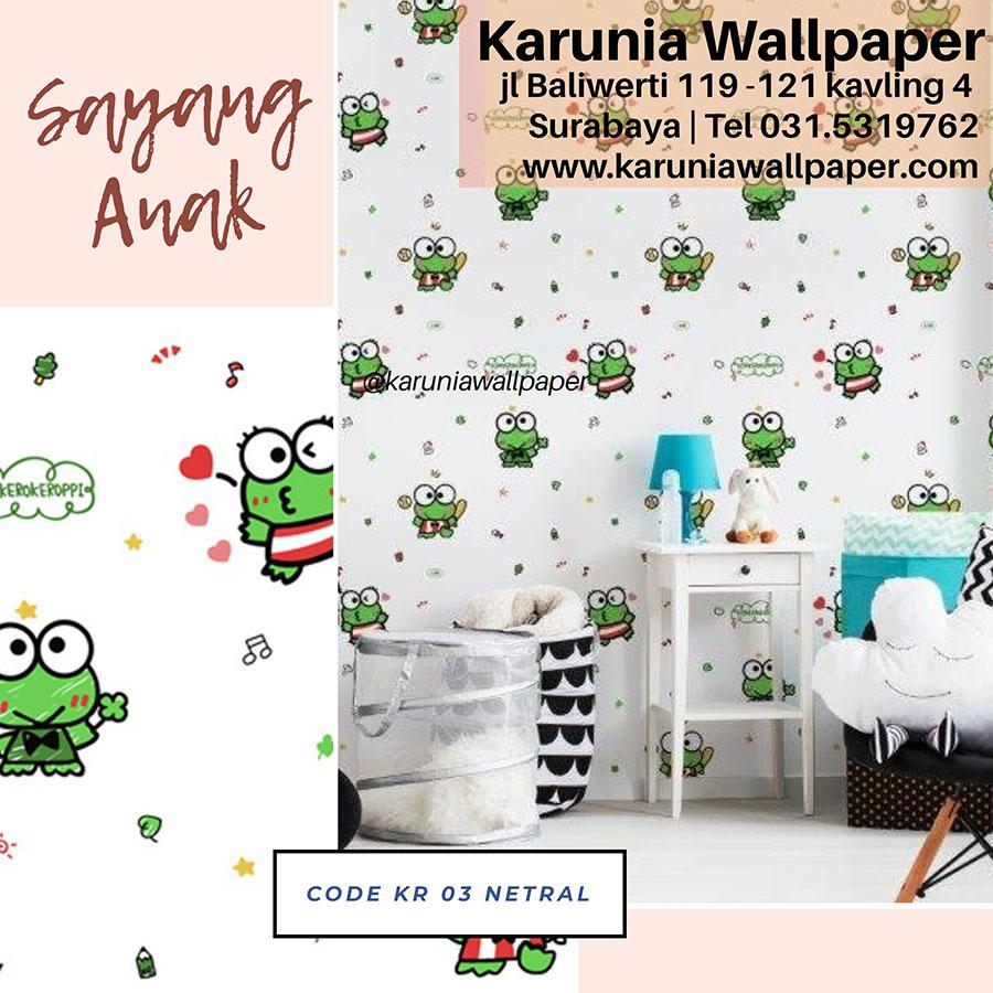 jual wallpaper dinding kamar anak kero keroppi