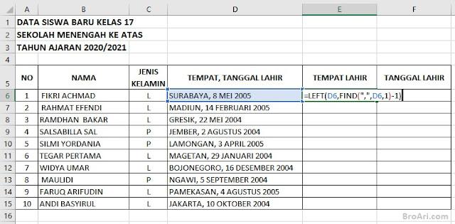 Rumus Excel Memisahkan Tempat Tanggal Lahir