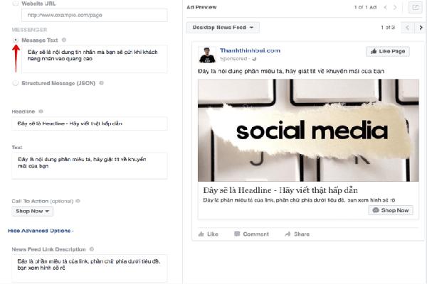 quảng cáo trên facebook messenger