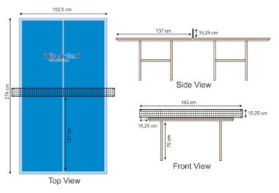 Gambar Lapangan Tenis Meja (PingPong) Beserta Ukurannya Dan Keterangannya Lengkap
