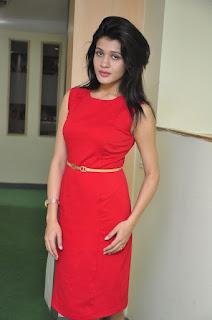 Actress Kimaya Stills in Red Dress at DJ Lemon Holi Poster Launch  0011