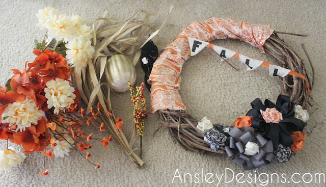 DIY fall floral wreath. Hydrangeas flowers autumn