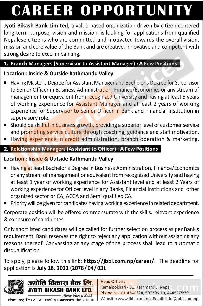 Jyoti Bikash Bank Job Vacancy for Branch & Relationship Manager
