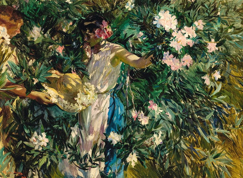 Idilio entre flores. 1904. Óleo sobre lienzo. 93X130,5 cm. Museo Nacional de Bellas Artes de La Habana, Cuba.