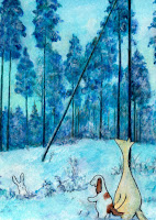 Postcard illustration of Hulmu and Haukku dog in winter morning. There is a fallen tree and a rabbit shown.