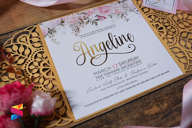 laser cut pink gold debut invitation stunro creativeworks