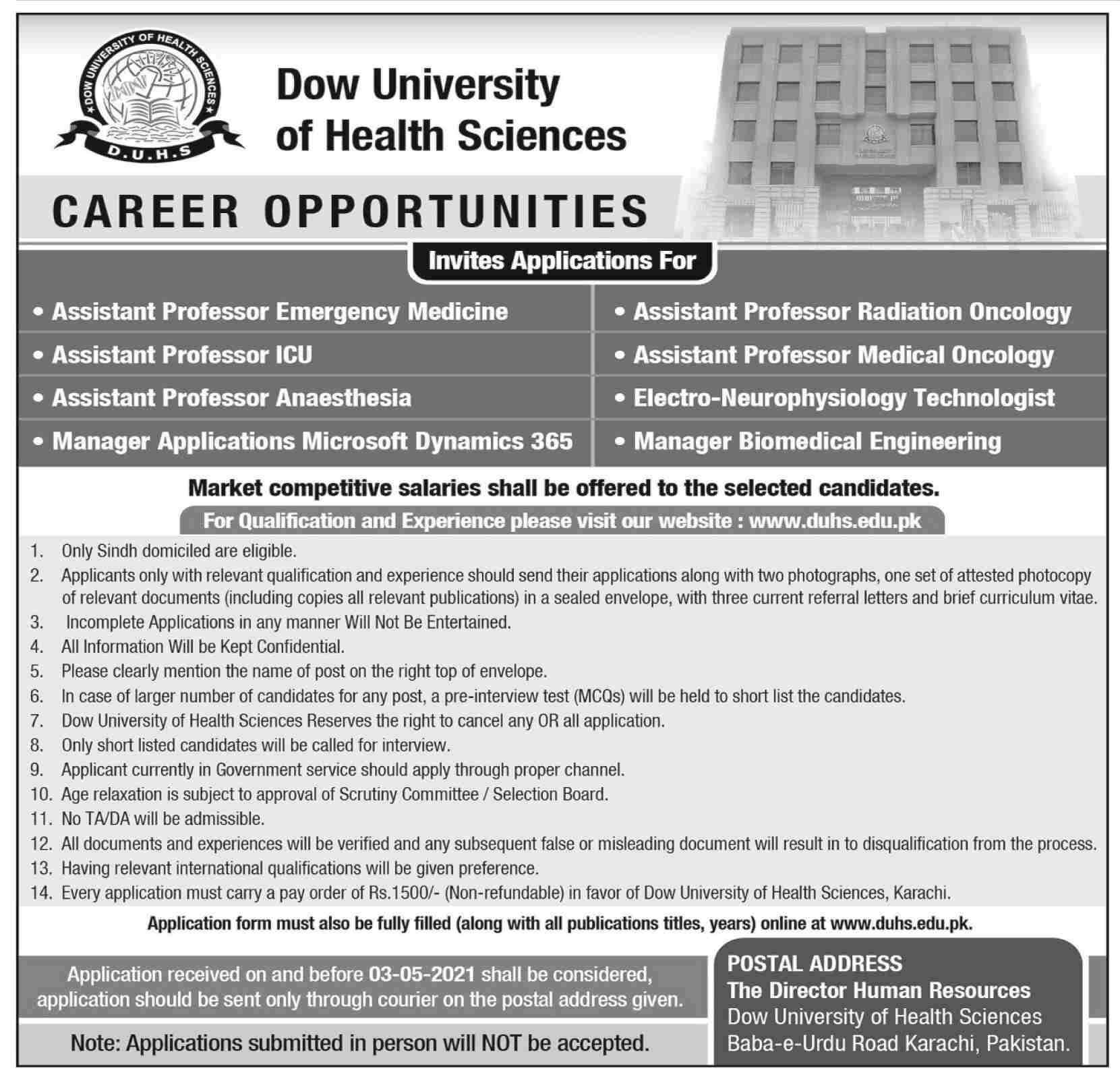 Dow University of Health Sciences (DUHS) Karachi Jobs 2021