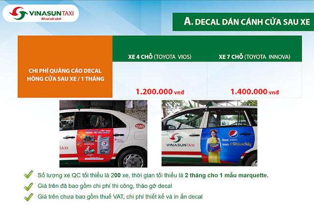 Báo giá dán decal quảng cáo cánh cựa sau xe Taxi Vinasun