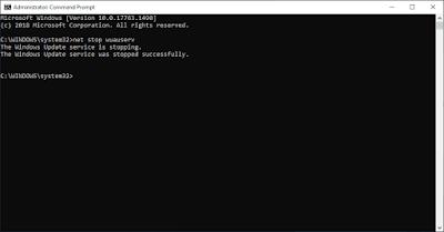 Perintah CMD Untuk Menghentikan Services Windows Update
