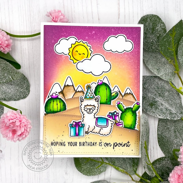 Sunny Studio Stamps: Looking Sharp Alpaca Holiday Balloon Rides Birthday Punny Card by Julia Englich
