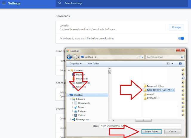Chrome Download Destination