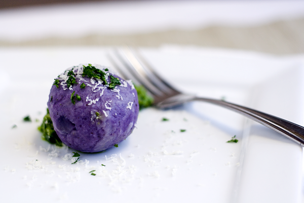 Gruyere Stuffed Purple Potato Dumplings with a Walnut Parsley Pesto