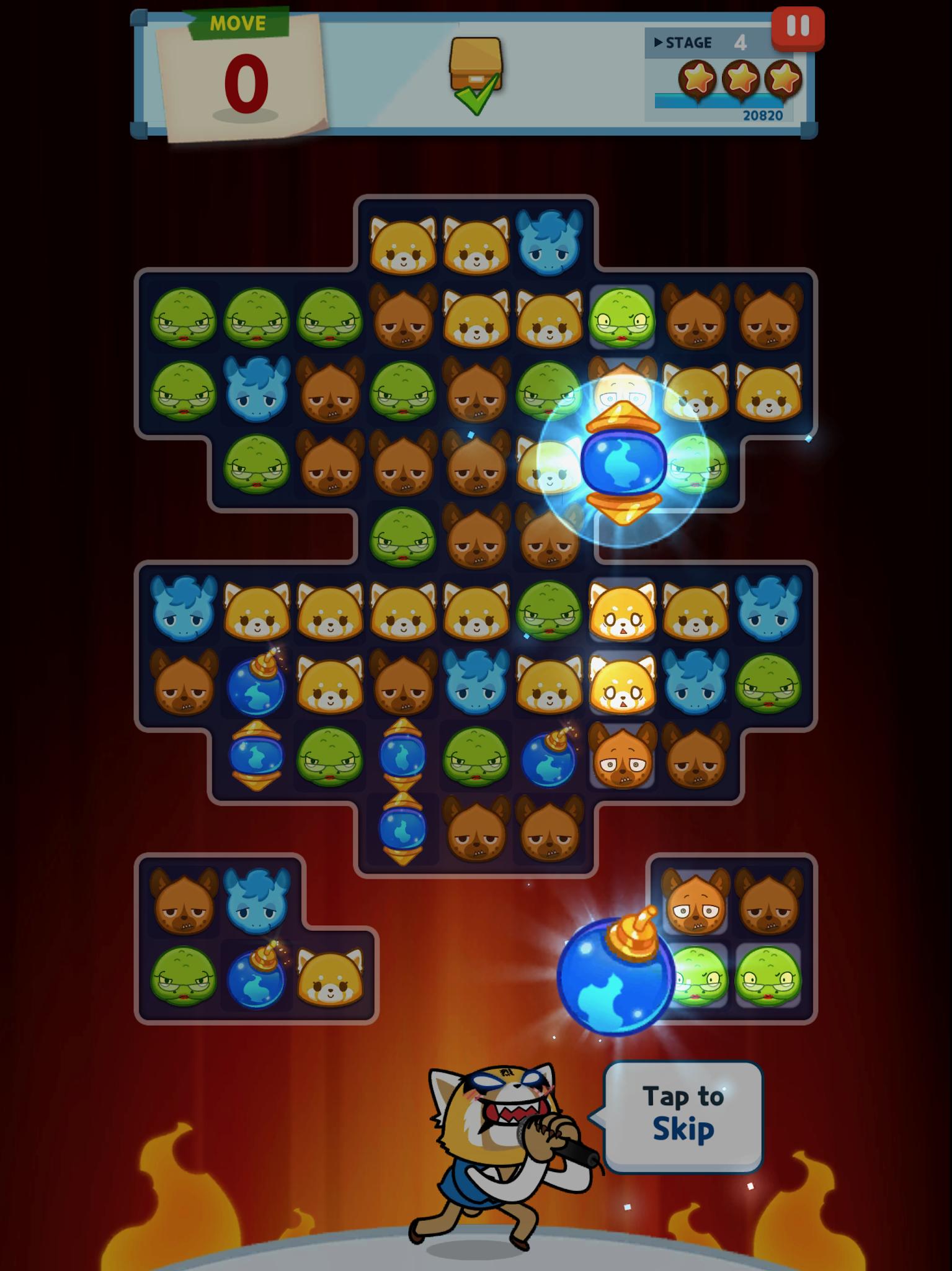 mobile game, aggrestuko puzzle,