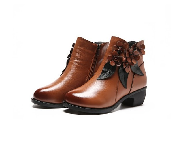 Winter booties Women Boots Vintage Genuine Leather Low-Heeled Shoes