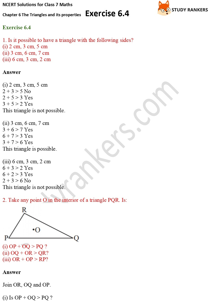 NCERT Solutions for Class 7 Maths Ch 6 The Triangles and its properties Exercise 6.4 1