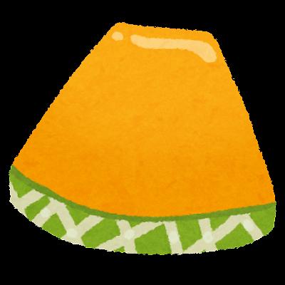 スライスされたメロンのイラスト(オレンジ)