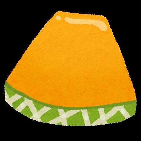スライスされたメロンのイラストオレンジ かわいいフリー素材集