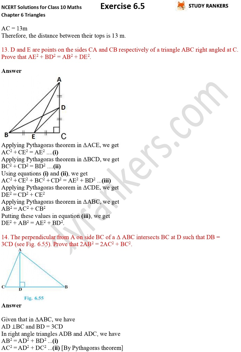 NCERT Solutions for Class 10 Maths Chapter 6 Triangles Exercise 6.5 Part 9