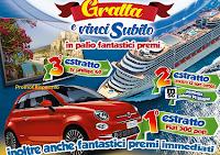 Logo Il Castoro Supermercati ''Gratta e vinci subito'' Crociera, Fiat500, TV, buoni spesa ecc