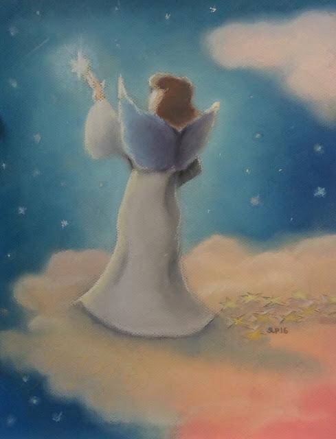 enkeli maalaus pastelli tähti pilvi
