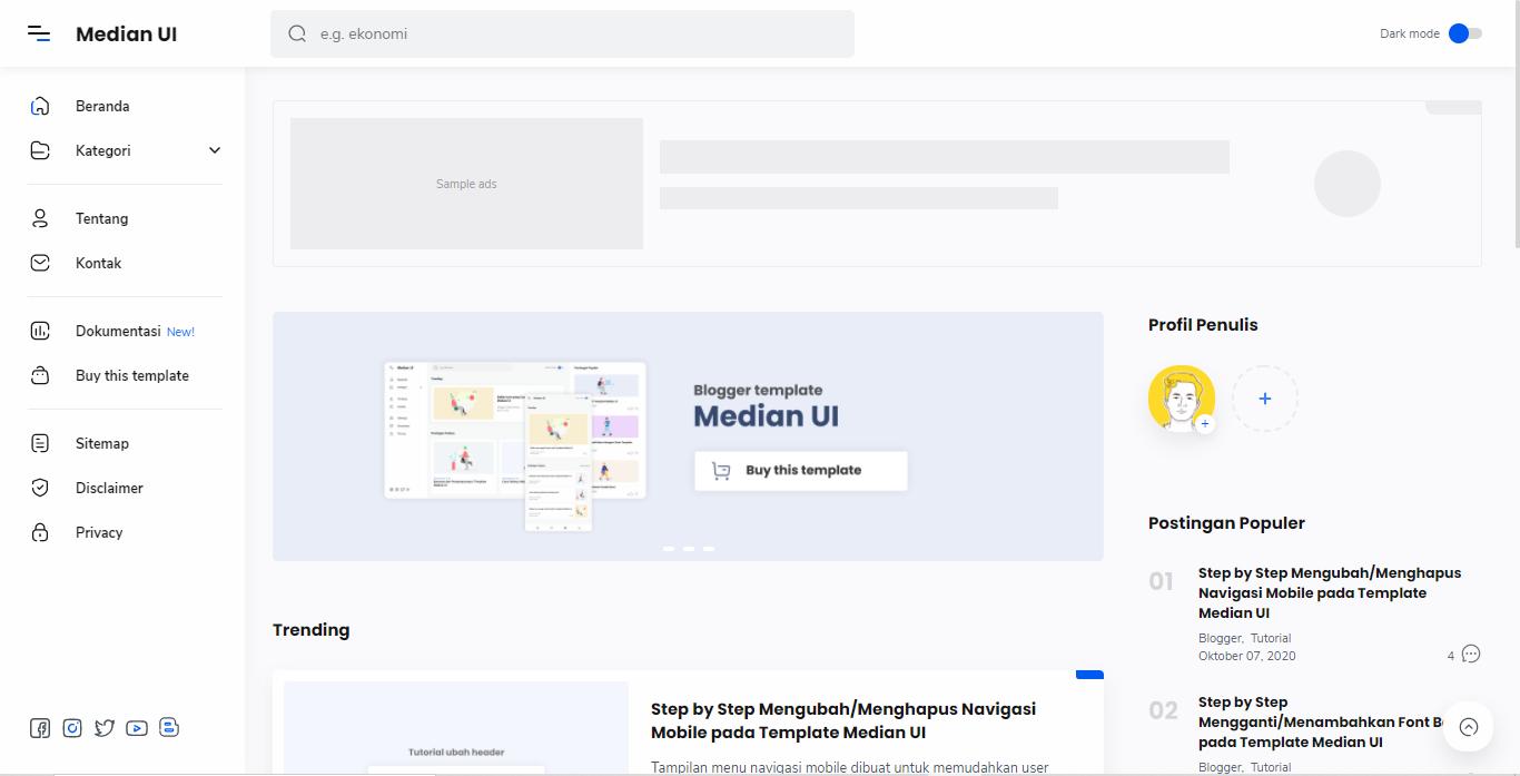 Download Template Blogger Median UI Versi 1.3 Gratis