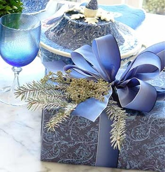 blue and gold Christmas gift wrapping