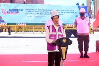 Pidato Presiden RI, Joko Widodo Pelepasan Ekspor Merdeka Pertanian Secara Virtual Dari Istana Kepresidenan Bogor,  Provinsi Jawa Barat