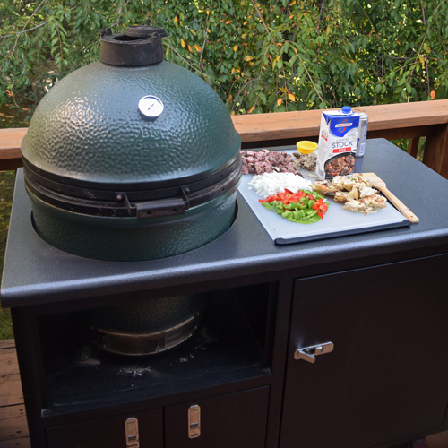 Big Green Egg in a Challenger Designs Torch grill cart