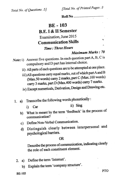 RGPV BE QUESTION PAPER of BE-103 Communication Skills June