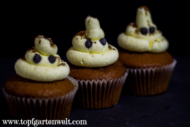 Geister-Cupcakes | Geister-Muffins für Halloween - Foodblog Topfgartenwelt