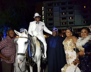 Sir Shina Peters rides on a white horse to the venue of his 60th birthday