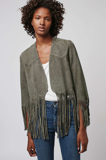 green suede tassel jacket, absence of colour suede jacket,