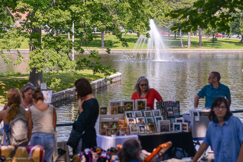 Portland, Maine USA July 2019 photo by Corey Templeton. A busy day at Deering Oaks Park between the weekly Farmers Market and the 17th annual Festival of Nations.