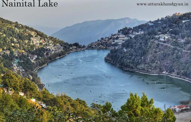 नैनीताल झील का सुन्दर दृश्य