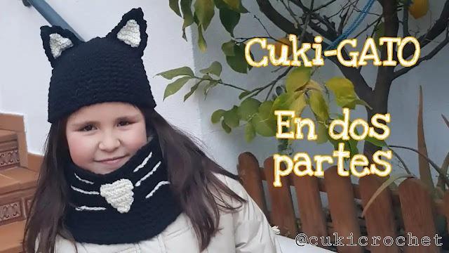 Tutorial de gorro y cuello de gato para niña a crochet