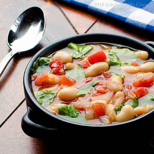 Tomato and White Bean Soup with Escarole