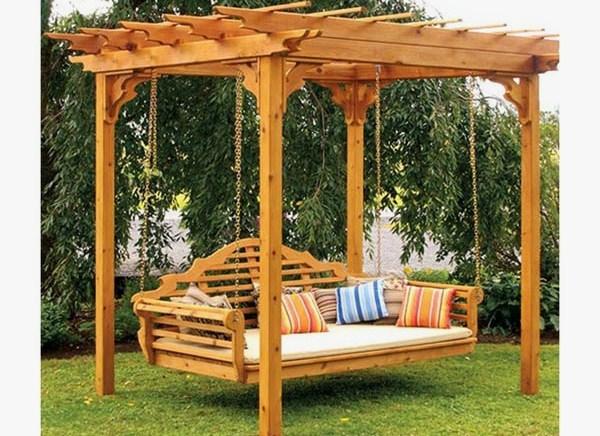 pergolas para jardin con columpio patios y jardines. Black Bedroom Furniture Sets. Home Design Ideas