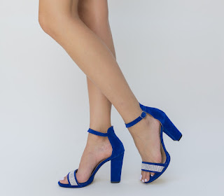 sandale albastre cu toc gros cu pietre pretioase elegante