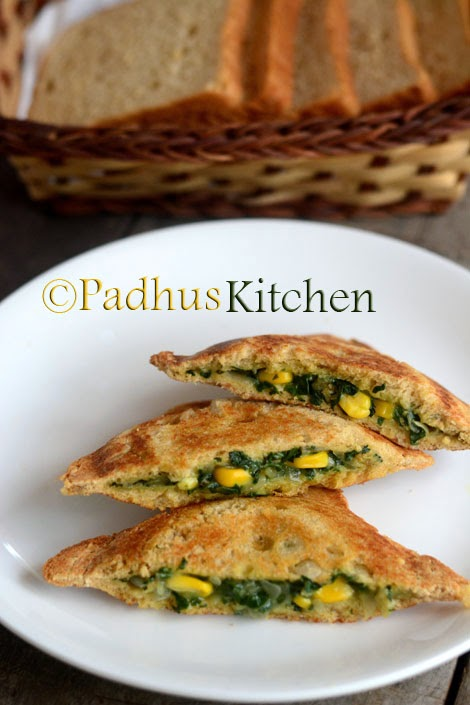 Corn Spinach Sandwich-Palak Corn Sandwich Recipe