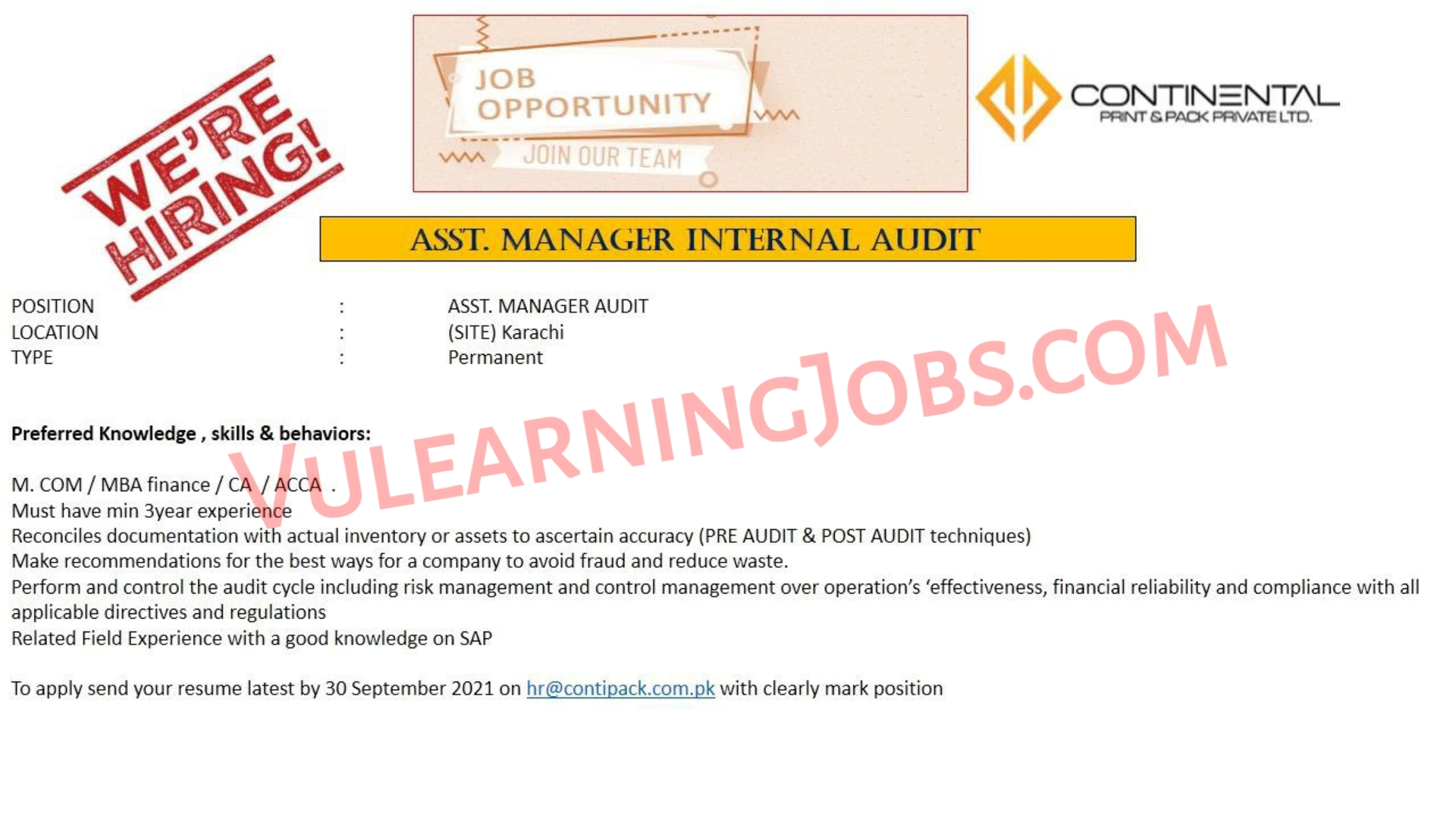 Continental Print & Pack Pvt Limited Jobs September 2021 For Asst. Manager & Deputy Manager Latest