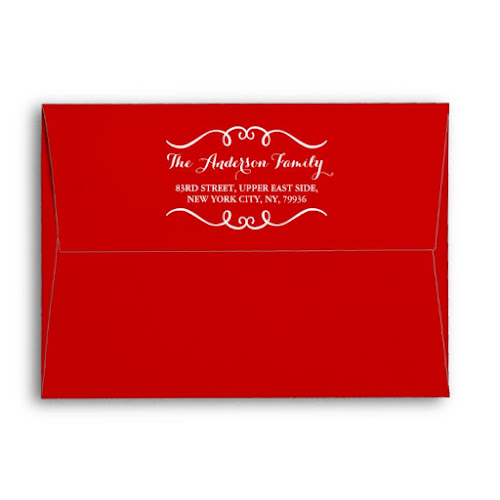 Elegant Red White Christmas Party Holiday Mailing Envelope