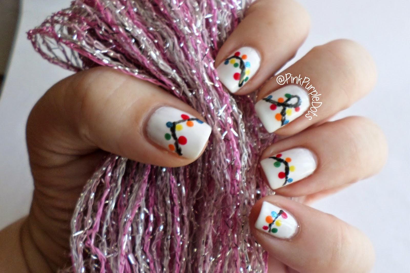 pink amp purple dots christmas light nails amp tutorial