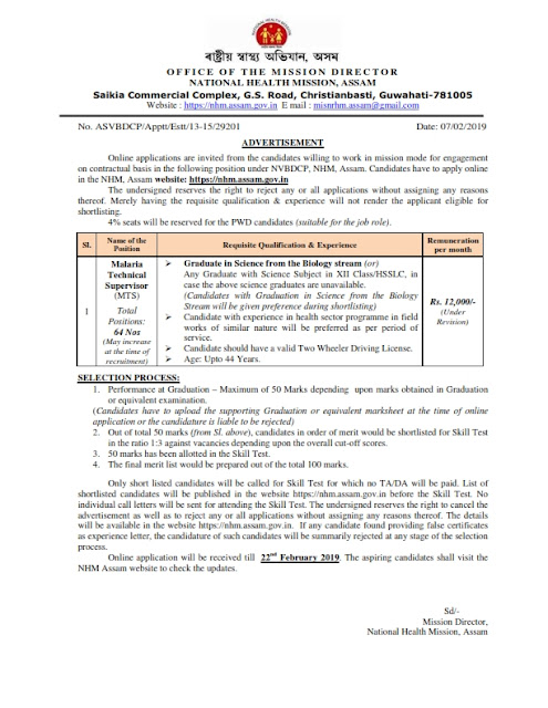 Malaria Technical Supervisor 64 posts in NHM, Assam