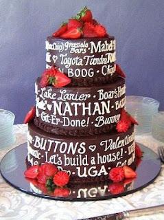 tulisan tangan di kue pengantin