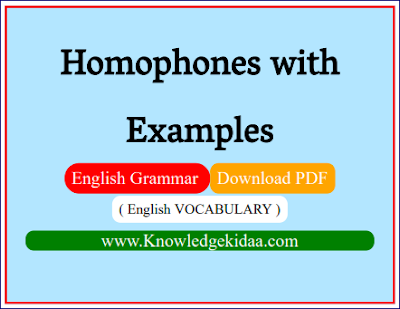 Homophones with Examples | English VOCABULARY |