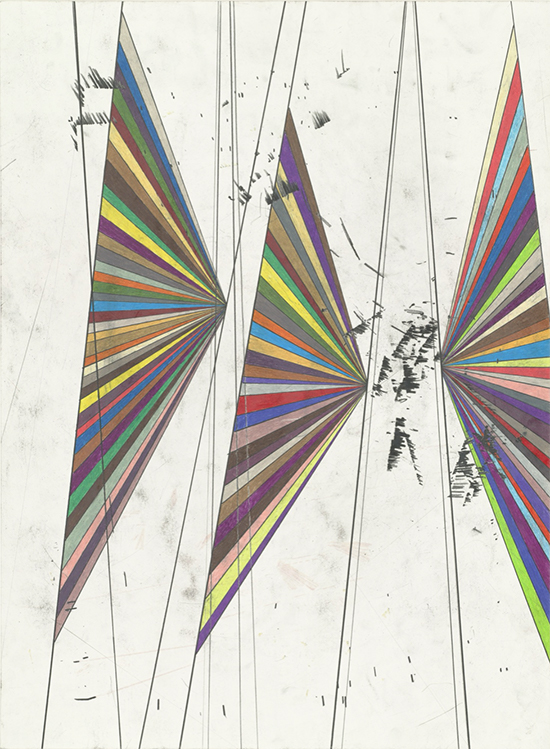 Mark Grotjahn Untitled (Colored Butterfly White Background Three Wings A#2 504), 2004 colored pencil on paper 76.2 x 56.5 cm