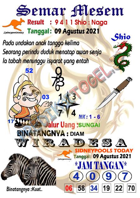Syair Semar Mesem SDY Senin 09-Agt-2021