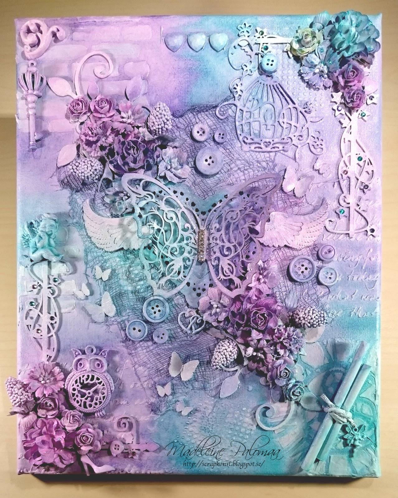 Scrapkonst: A colourful mixed media canvas Scrapkonst