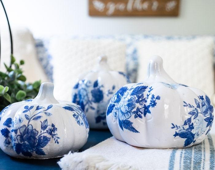 blue and white floral glossy DIY porcelain pumpkins