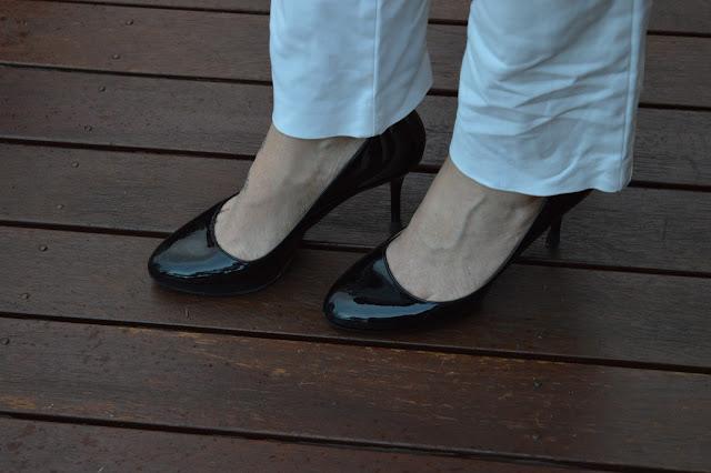 Sydney Fashion Hunter The Wednesday Pants #38 - Black Patent Prada Almond Toe Pumps